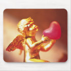 Golden angel holding pink heart, side view, soft mouse pad
