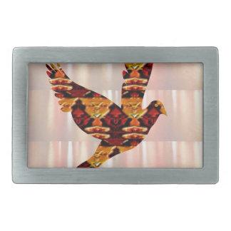 Golden ANGEL on Feathers ANGEL BIRD Goodluck gift Rectangular Belt Buckle