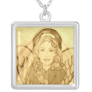 Golden Angel with Cat Silver Plated Necklace