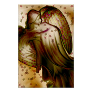 Golden Angel With Stars Poster
