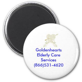golden angels, Goldenhearts Elderly Care Servic... 2 Inch Round Magnet