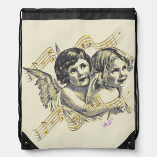 Golden Angels MusicSwirl Creme Drawstring Backpack