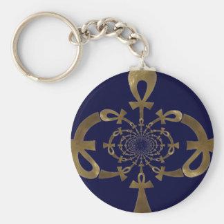 Golden Ankh design blue (Egyptian) Key Chain