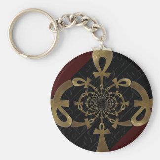 Golden Ankh design/ hieroglyphics (Egyptian) Key Chain