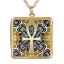 Golden Ankh symbol of life Tribal geometry pattern Gold Finish Necklace