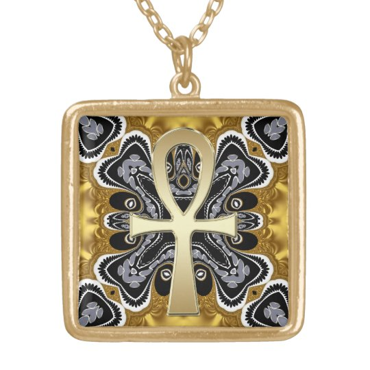 Golden Ankh Symbol Of Life Tribal Geometry Pattern Gold Plated