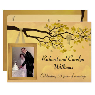 Golden Anniversary 50th Love Birds Invitation