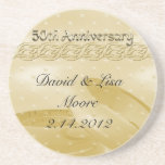 Golden Anniversary Bands Of Love Beverage Coasters