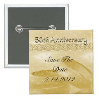 Golden Anniversary Bands Of Love Set 2 Inch Square Button