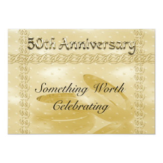 Golden Anniversary Bands Of Love Set 5x7 Paper Invitation Card