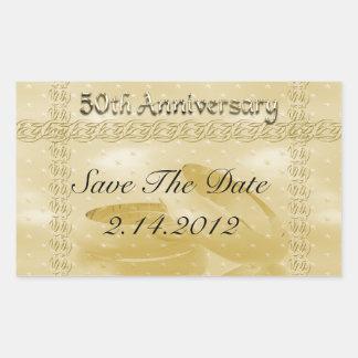 Golden Anniversary Bands Of Love Set Rectangular Sticker