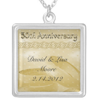 Golden Anniversary Bands Of Love Set Silver Plated Necklace