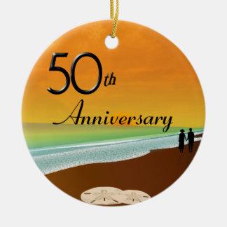 Golden Anniversary Beach Theme Ceramic Ornament