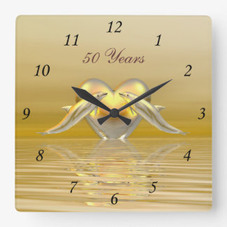 Golden Anniversary Dolphins and Heart Square Wall Clocks