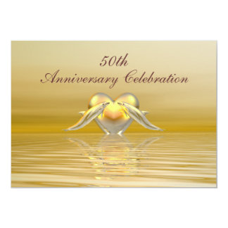 Golden Anniversary Dolphins and Heart Custom Invitation