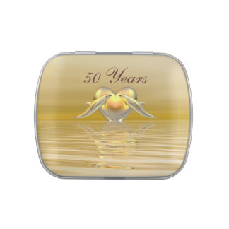Golden Anniversary Dolphins and Heart Jelly Belly Candy Tins