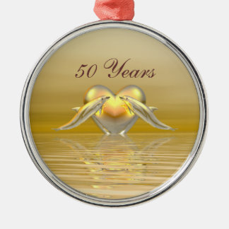 Golden Anniversary Dolphins and Heart Metal Ornament