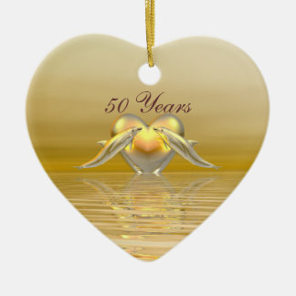 Golden Anniversary Dolphins and Heart Ornaments