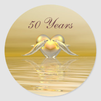 Golden Anniversary Dolphins and Heart Classic Round Sticker