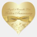 Golden Anniversary Heart Shaped Sticker