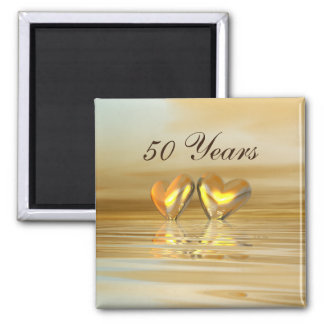 Golden Anniversary Hearts 2 Inch Square Magnet