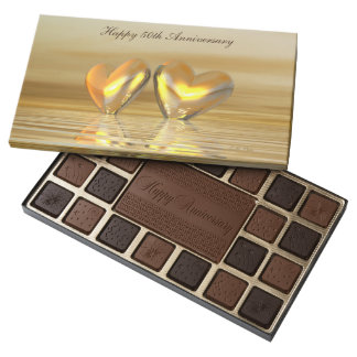 Golden Anniversary Hearts 45 Piece Box Of Chocolates