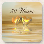 Golden Anniversary Hearts Beverage Coasters