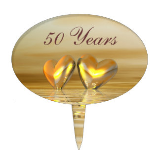 Golden Anniversary Hearts Cake Topper