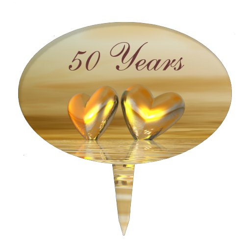 Golden Anniversary Hearts Cake Toppers