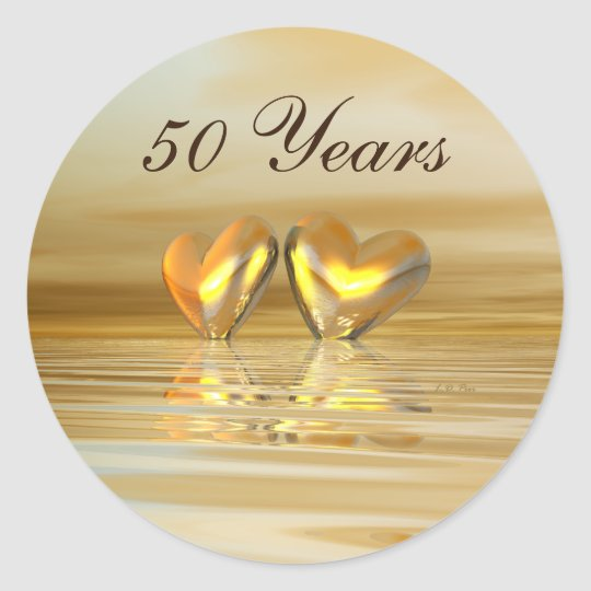 Golden Anniversary Hearts Classic Round Sticker