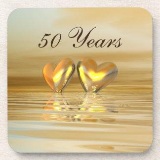 Golden Anniversary Hearts Coaster