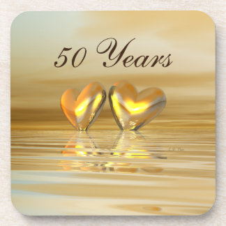 Golden Anniversary Hearts Drink Coasters