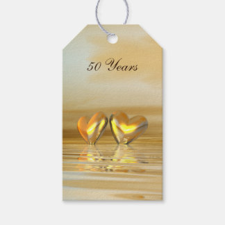 50th Wedding Anniversary Gift Tags : Golden Anniversary Hearts Gift Tags