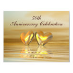 "Golden Anniversary Hearts 4.25"" X 5.5"" Invitation Card"