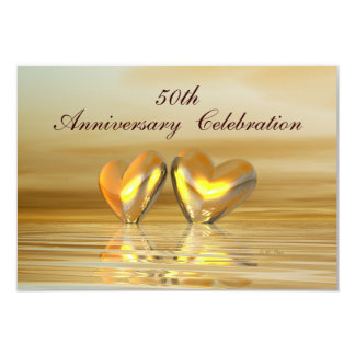 Golden Anniversary Hearts 3.5x5 Paper Invitation Card