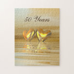 """Golden Anniversary Hearts Jigsaw Puzzle<br><div class=""""desc"""">For all of your 50th anniversary needs. An all-golden and yellow 3d scene with golden hearts floating on water. Customizable text says &quot;50 Years&quot;.</div>"""