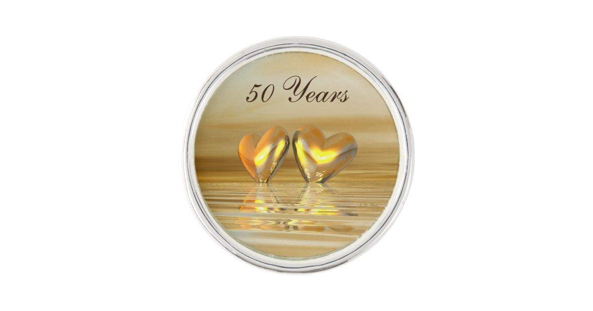 Golden Anniversary Hearts Lapel Pin | Zazzle com