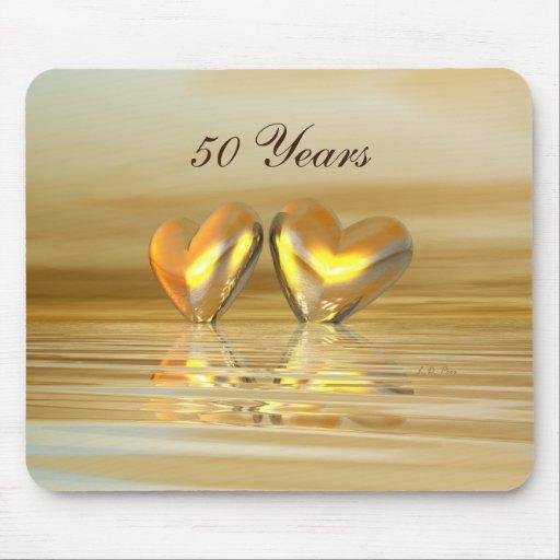 Golden Anniversary Hearts Mousepad