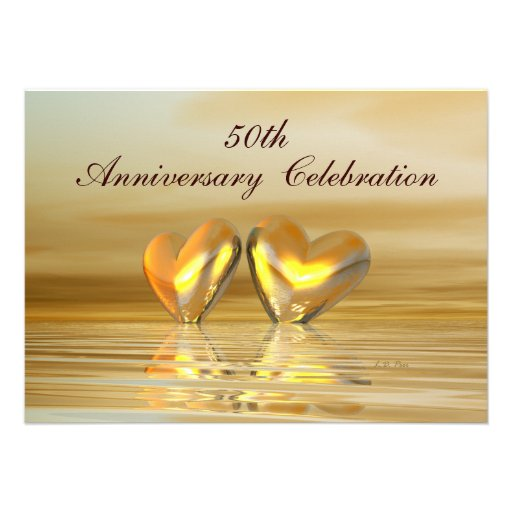 Golden Anniversary Hearts Personalized Invitations