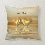 Golden Anniversary Hearts Pillow