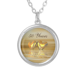 Golden Anniversary Hearts Silver Plated Necklace