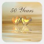 Golden Anniversary Hearts Square Sticker
