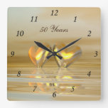 Golden Anniversary Hearts Square Wall Clock