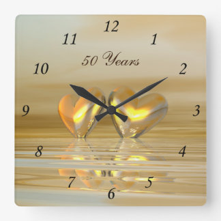 Golden Anniversary Hearts Square Wall Clock