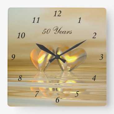 Peerdrops Golden Anniversary Hearts Square Wall Clock