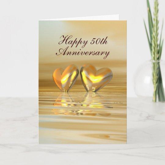 golden anniversary hearts tall card zazzle com