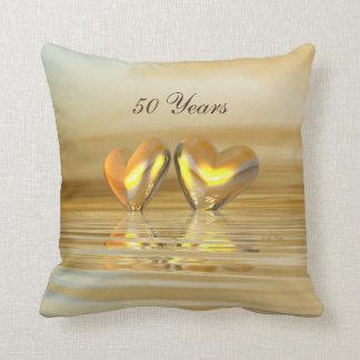 Golden Anniversary Hearts Throw Pillow