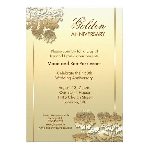 Golden Anniversary Invitation 5 X 7 Invitation Card