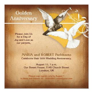 """golden anniversary invitation 5.25"""" square invitation card"""