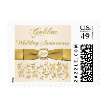 Golden Anniversary Ivory, Gold Floral Postage